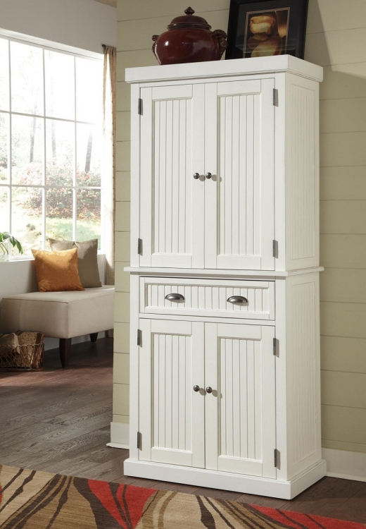 Nantucket Pantry - Sanded and Distressed White - Home Styles