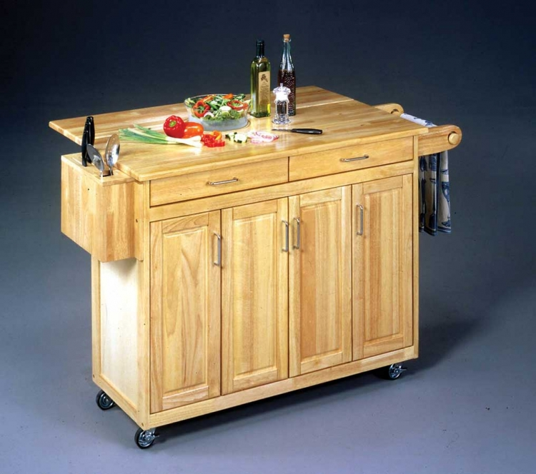 Wood Top Kitchen Cart with Wood Breakfast Bar- Natural