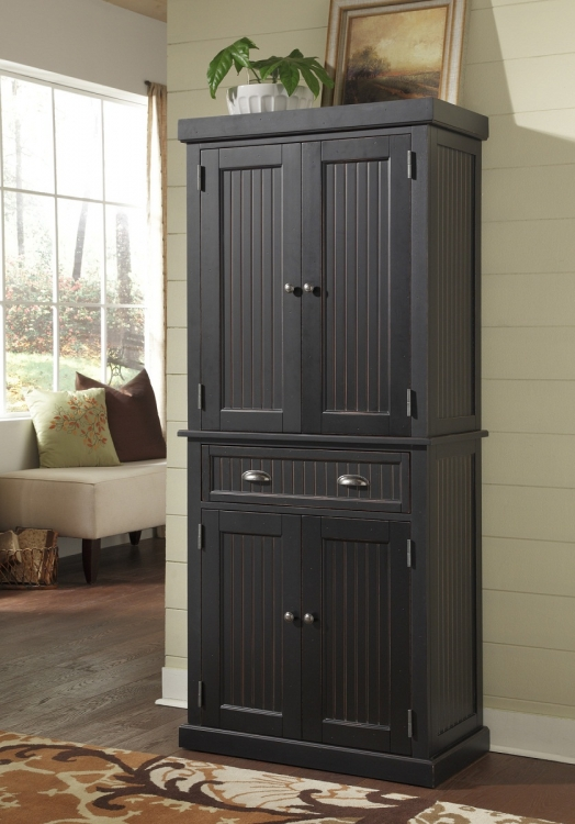 Nantucket Pantry - Sanded and Distressed Black - Home Styles
