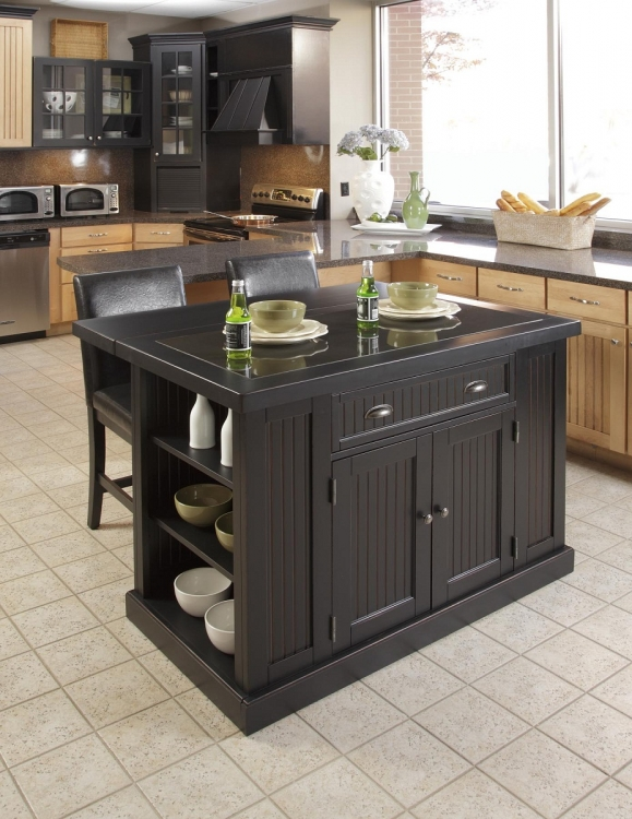 Nantucket Kitchen Island Set - Sanded and Distressed Black