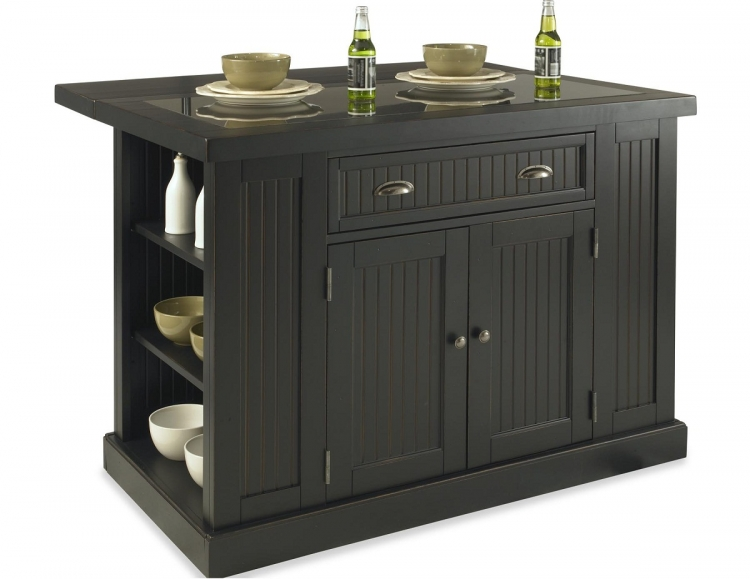 Nantucket Kitchen Island - Sanded and Distressed Black