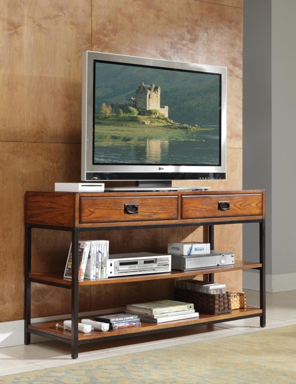 Modern Craftsman TV Stand - Distressed Oak - Home Styles