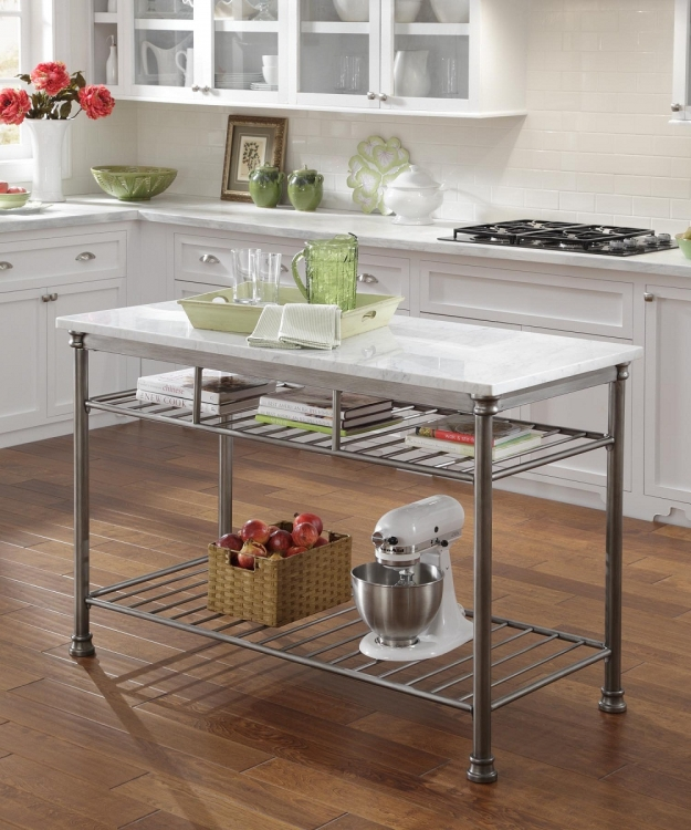 The Orleans Kitchen Island with Marble Top - Powder Coated Steel