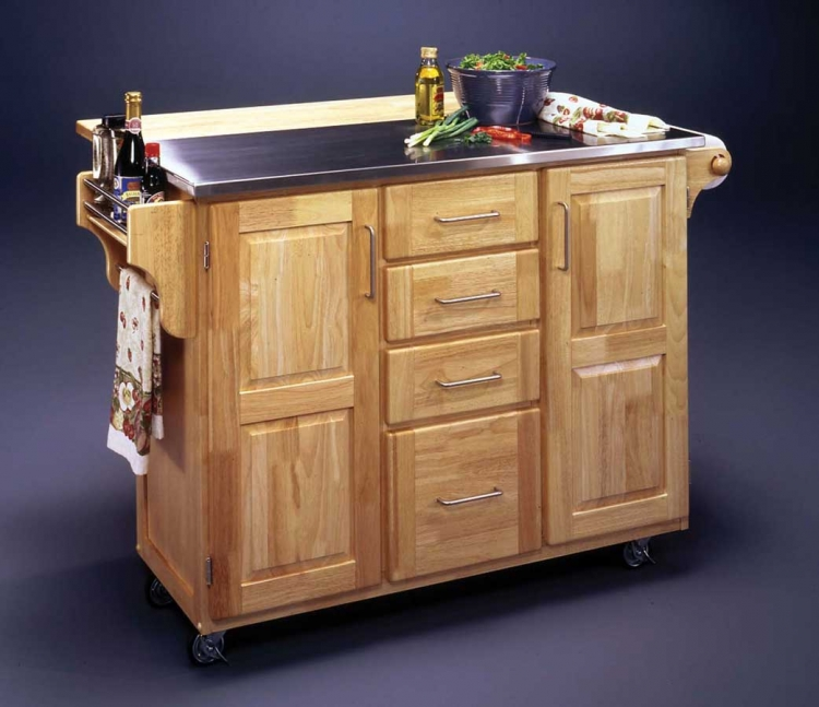 Stainless Steel Top Kitchen Cart with Wood Breakfast Bar - Natural
