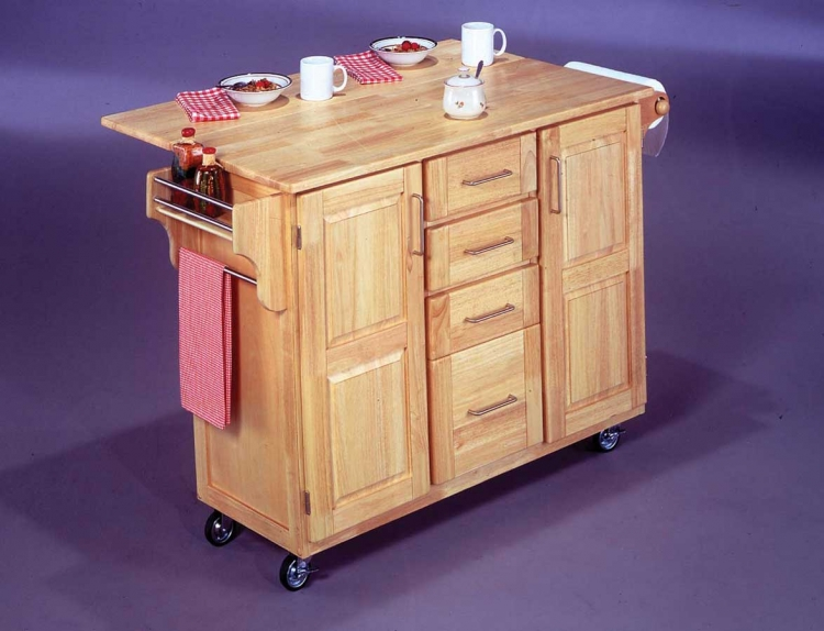 All Wood Kitchen Cart with Wood Breakfast Bar - Natural - Home Styles