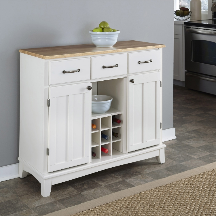 White-Natural Wood Top Buffet-Large