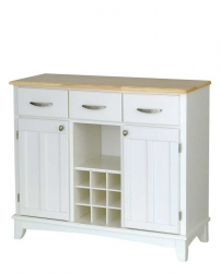 White-Natural Wood Top Buffet-Large - Home Styles