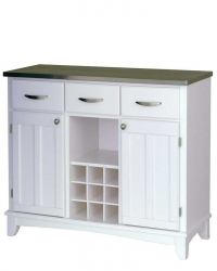 White Stainless Steel Top Buffet-Large - Home Styles