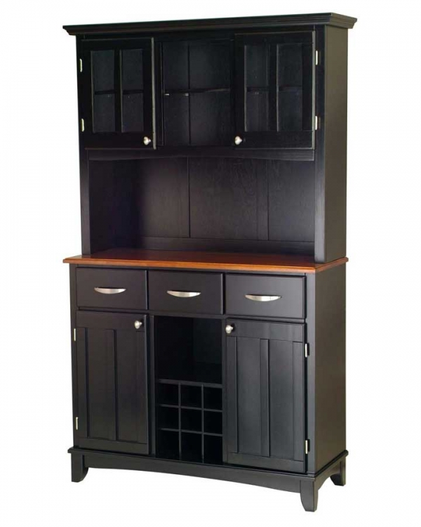 Black-Cottage Oak Wood Top Buffet with Glass Door Hutch-Large - Home Styles