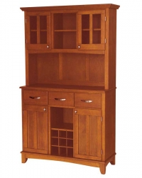 Cottage Oak Wood Top Buffet with Glass Door Hutch-Large - Home Styles