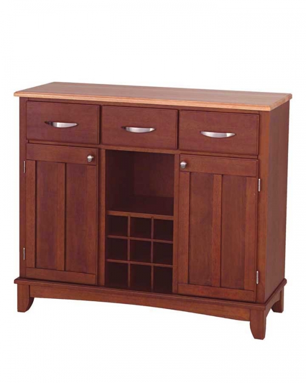 Cherry-Natural Wood Top Buffet-Large - Home Styles