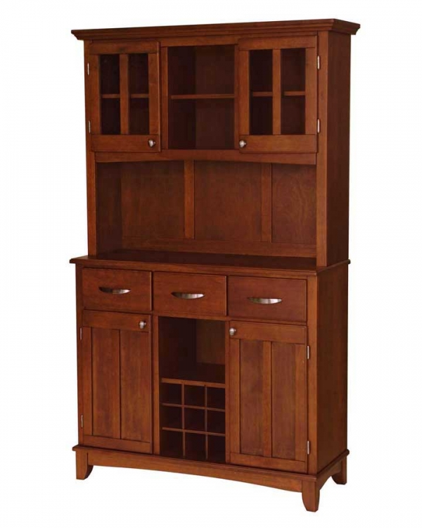Cherry Wood Top Buffet with Glass Door Hutch-Large