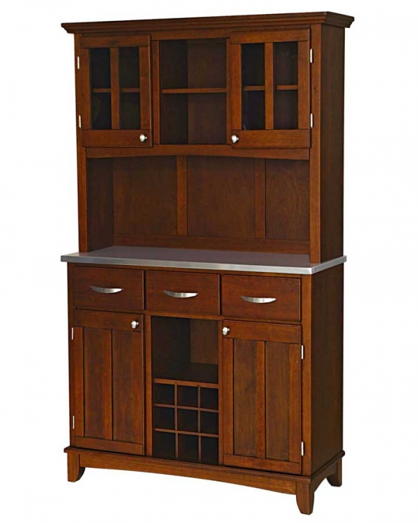 Cherry-Stainless Steel Top Buffet with Glass Door Hutch-Large - Home Styles