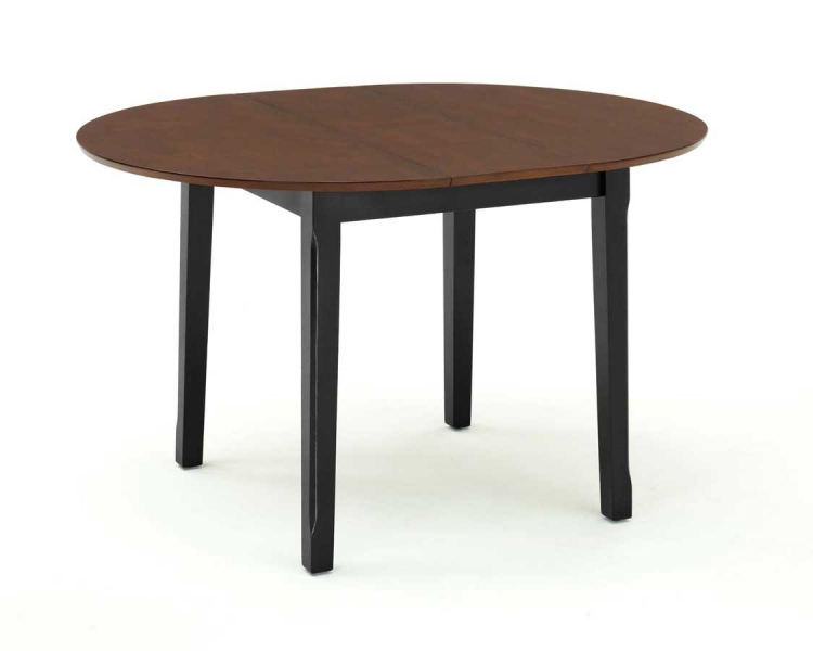 Round Dining Table with Leaf - Black and Cherry