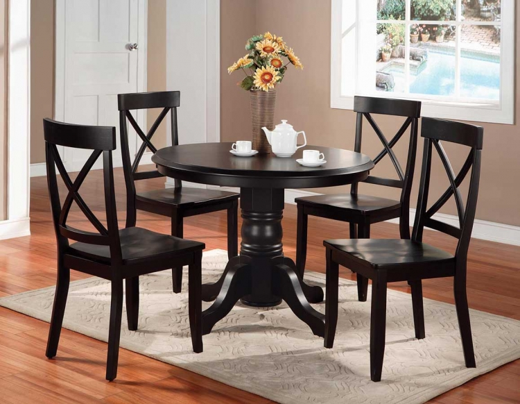 Round Pedestal Dining Collection - Black - Home Styles