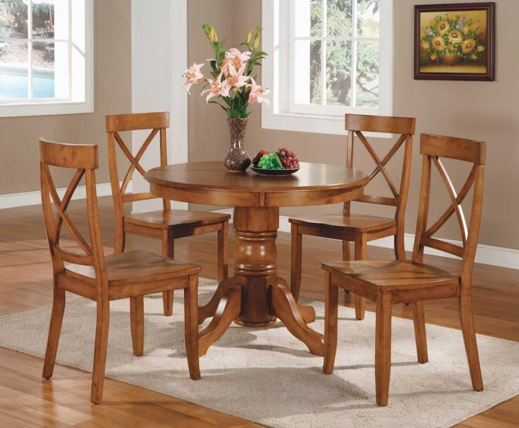 Round Pedestal Dining Collection - Cottage Oak