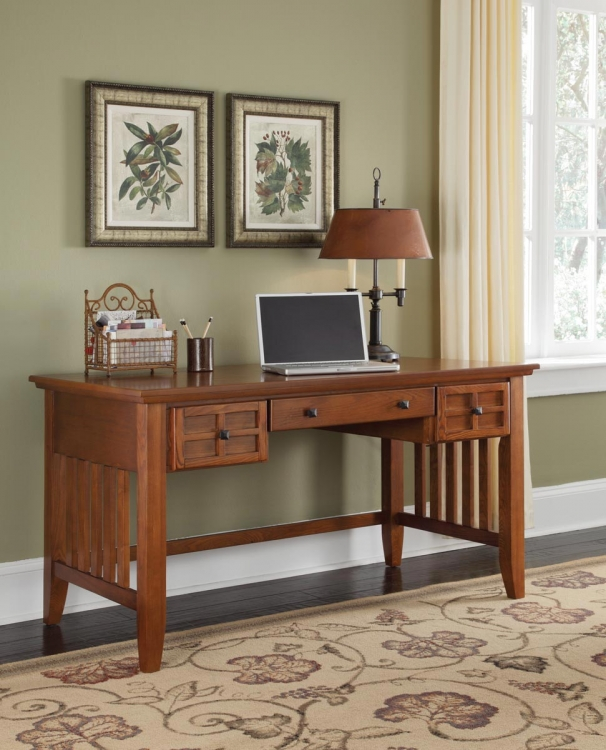 Arts and Crafts Executive Desk - Cottage Oak - Home Styles