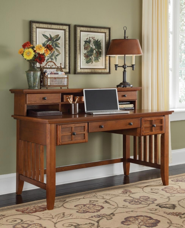 Arts and Crafts Executive Desk and Hutch - Cottage Oak