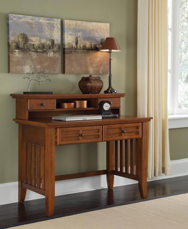 Arts and Crafts Student Desk and Hutch - Cottage Oak - Home Styles