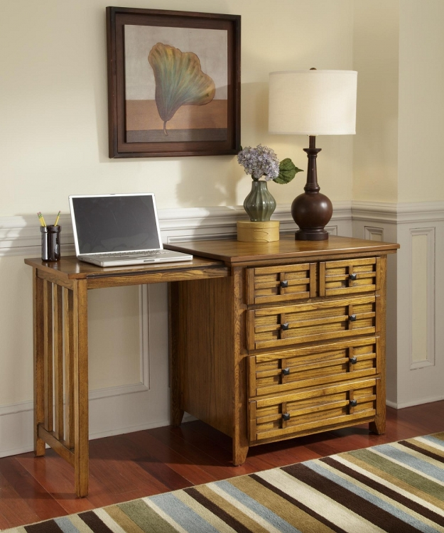 Arts and Crafts Expand-A-Desk - Cottage Oak - Home Styles