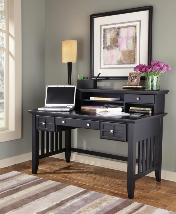 Arts and Crafts Executive Desk and Hutch - Black