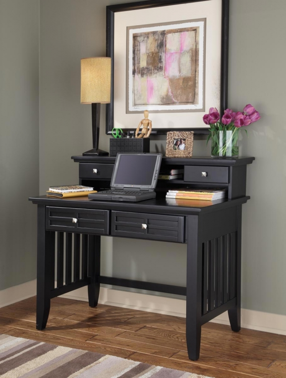 Arts and Crafts Student Desk and Hutch - Black - Home Styles