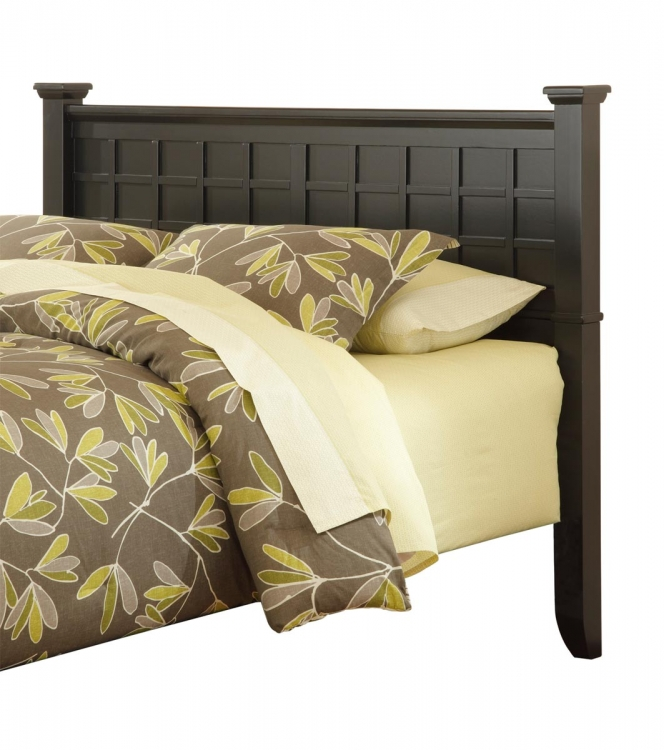 Arts and Crafts Queen Headboard - Black