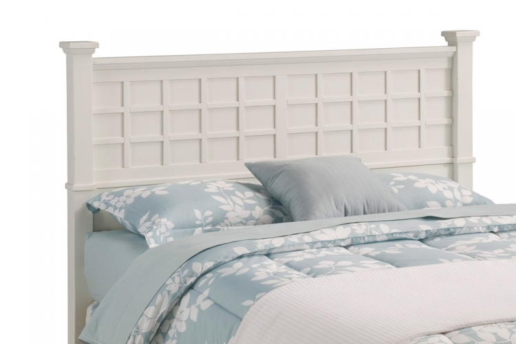 Arts and Crafts Queen Headboard - White