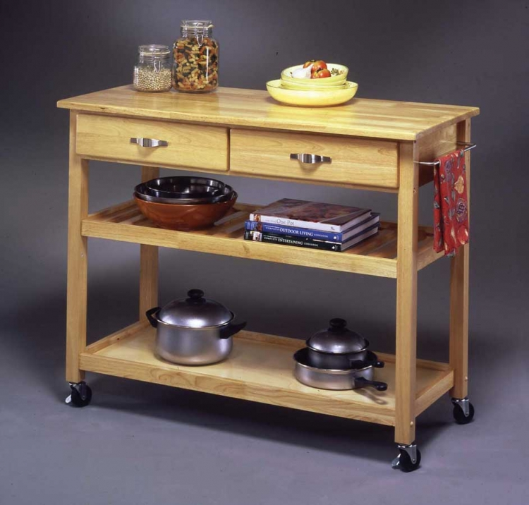 Solid Wood Top Kitchen Cart - Natural