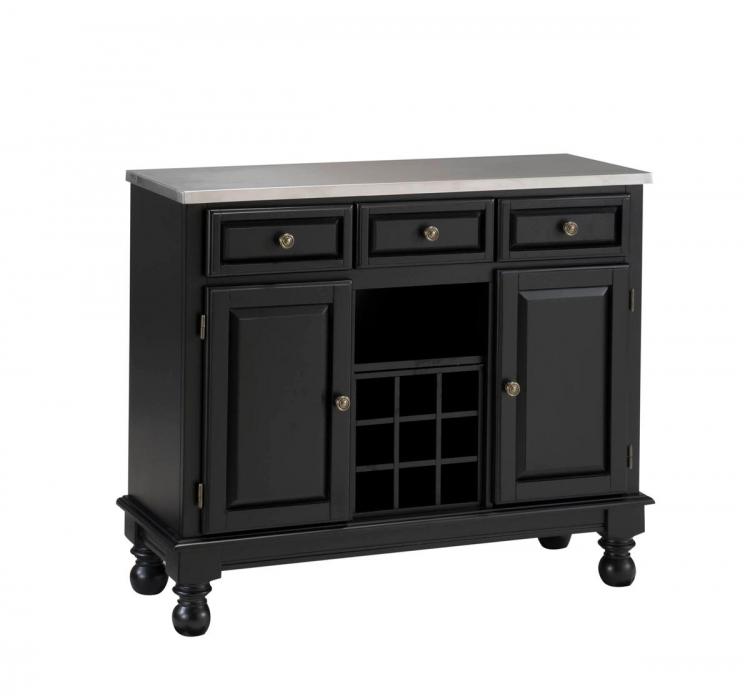 Premium Buffet with Stainless Top - Black