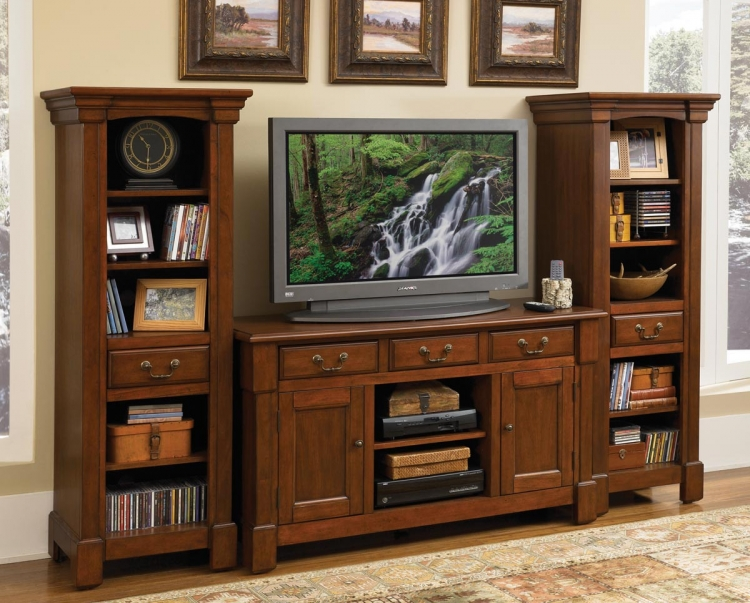 Aspen 3 Pc Entertainment Center - Rustic Cherry - Home Styles