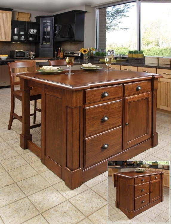 Aspen Rustic Kitchen Island Set - Rustic Cherry - Home Styles