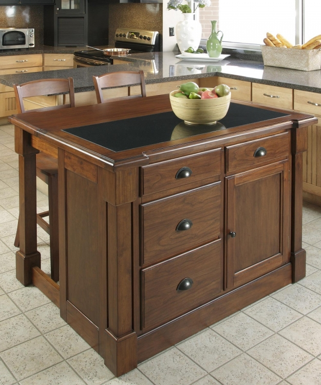 Aspen Kitchen Island with Hidden Drop Leaf Support/Granite Top - Rustic Cherry