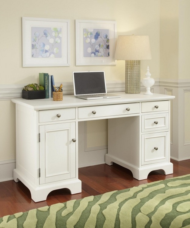 Naples Pedestal Desk - White - Home Styles