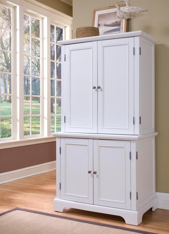 Naples Compact Computer Desk and Hutch - White - Home Styles