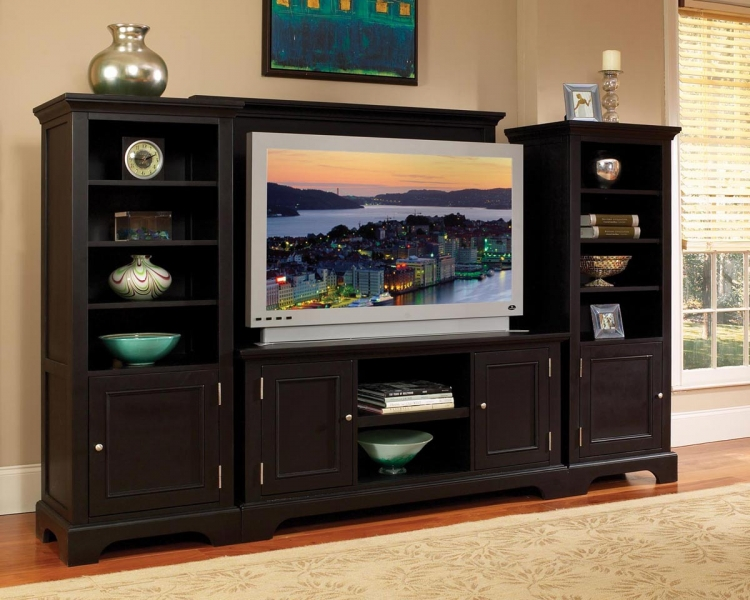 Bedford 4PC Entertainment Center - Black - Home Styles