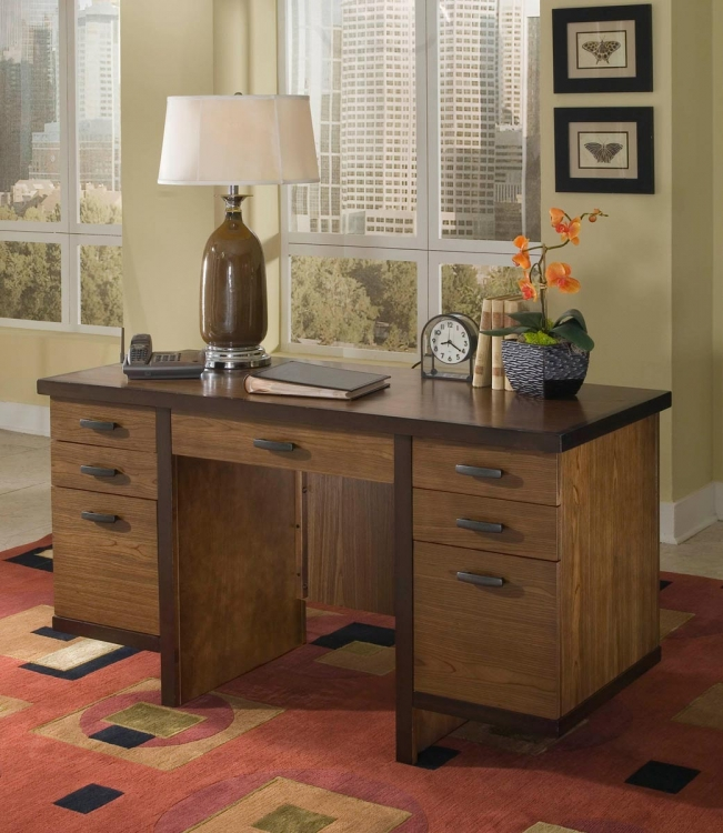 Geo Pedestal Desk - Walnut - Home Styles
