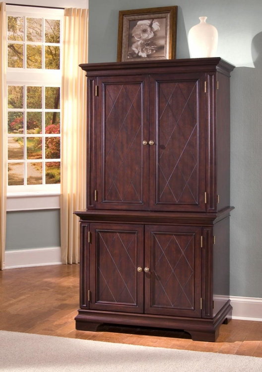 Windsor Compact Computer Desk and Hutch - Windsor Cherry - Home Styles