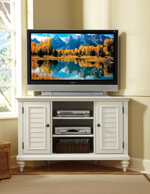Bermuda Corner TV Stand - Brushed White - Home Styles