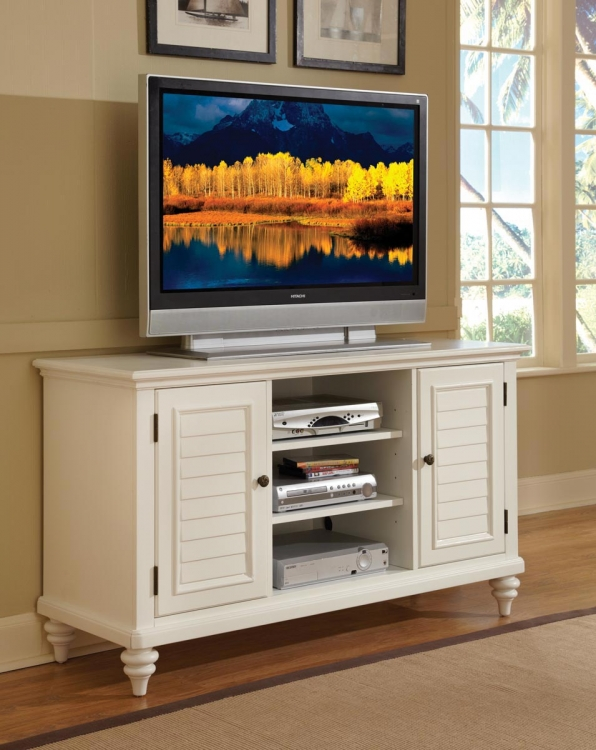 Bermuda TV Credenza - Brushed White - Home Styles