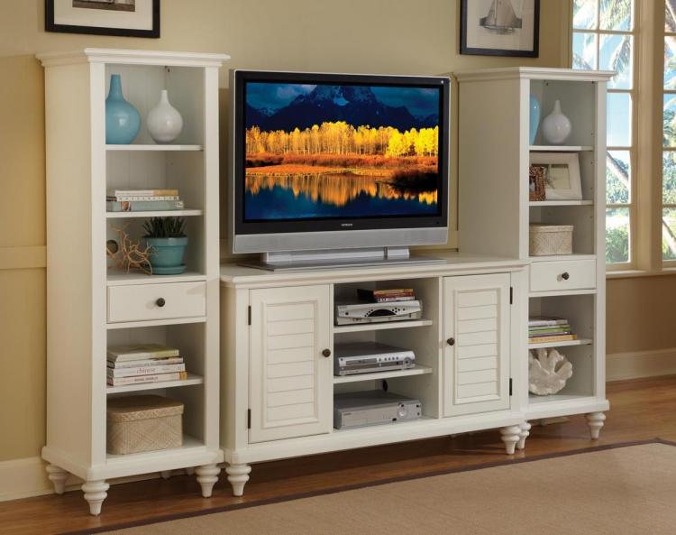 Bermuda 3 Pc Entertainment Center - Brushed White - Home Styles