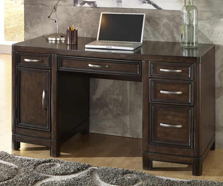 Crescent Hill Pedestal Desk - Two-tone tortoise shell