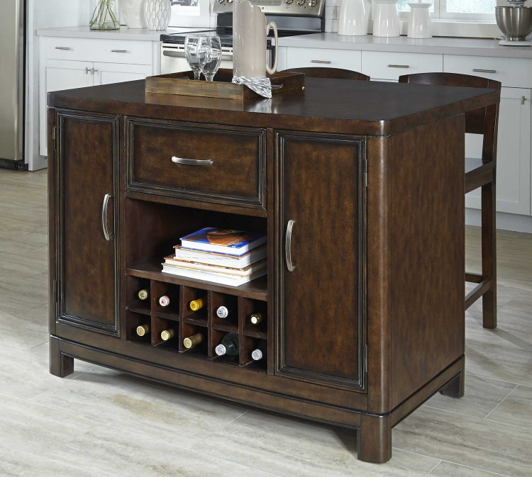 Crescent Hill Kitchen Island and Two Stools - Two-tone tortoise shell