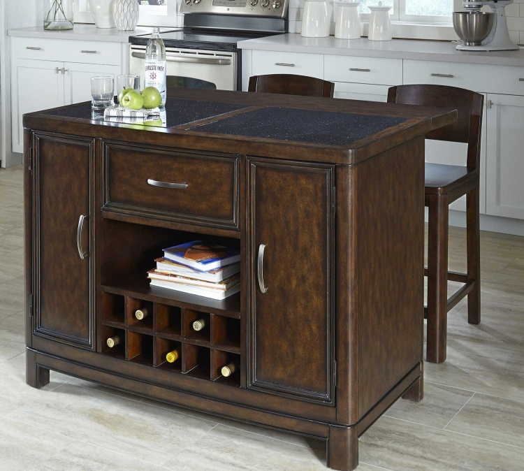 Crescent Hill Kitchen Island with Granite Top and Two Stools - Two-tone tortoise shell