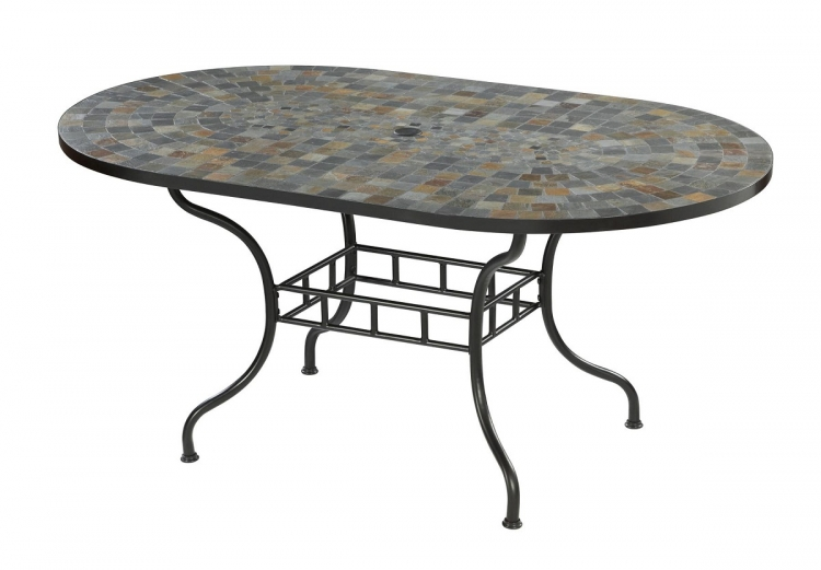 Stone Harbor 65 Inch Dining Table - Slate/Black - Home Styles