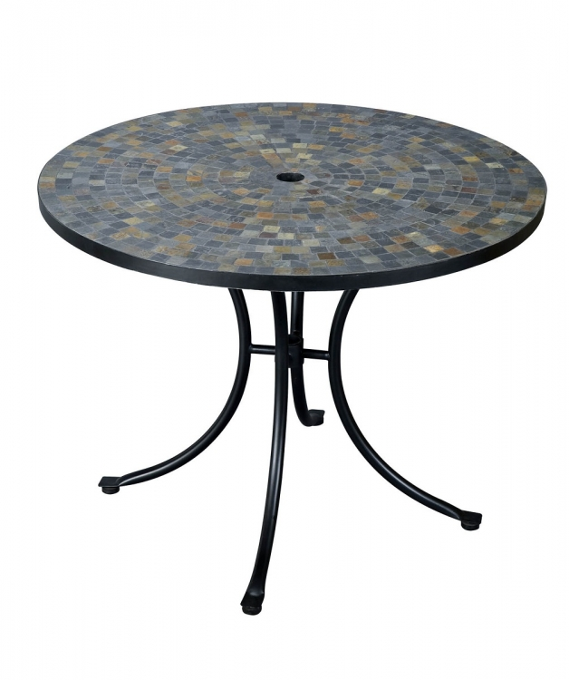 Stone Harbor 51 Inch Round Dining Table - Slate/Black - Home Styles