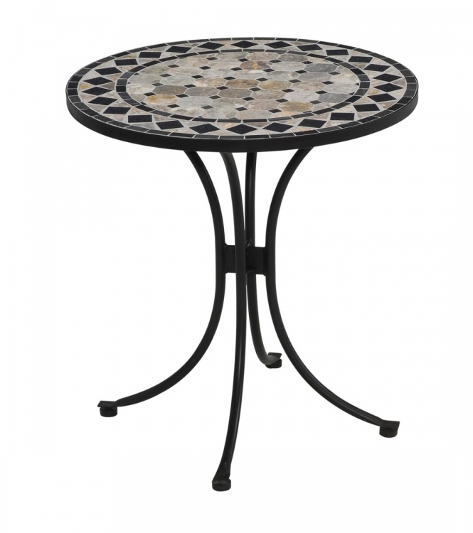 Tile Top Bistro Table - Tan and Black - Home Styles