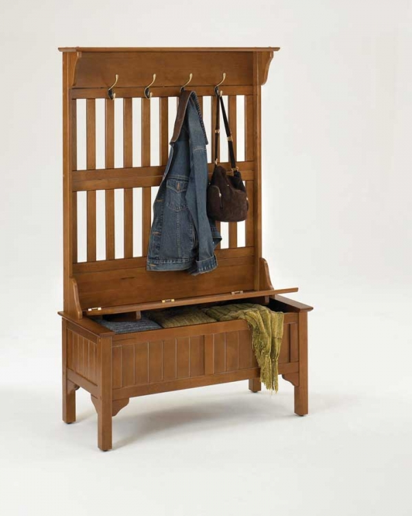 Hall Tree with Storage Bench - Oak - Home Styles