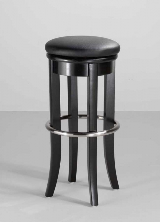 30in Bar Stool with Upholstered Swivel Top - Black - Home Styles