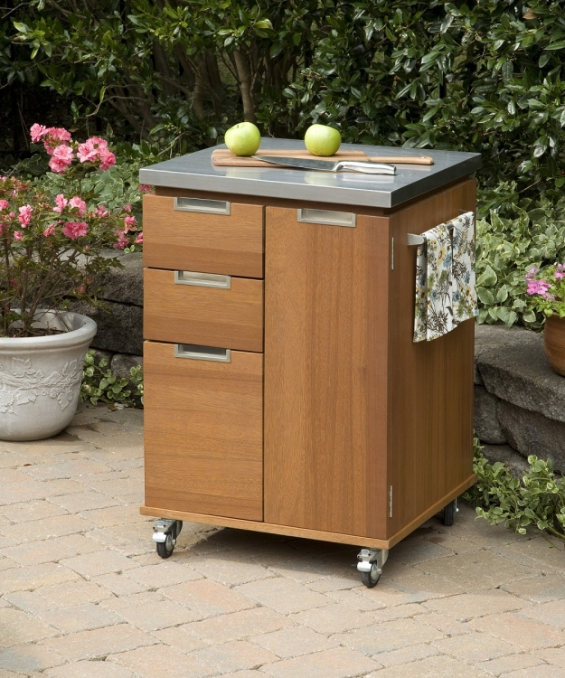 Montego Bay Outdoor Patio Cart - Eucalyptus - Home Styles